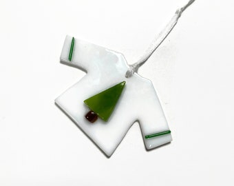 Glass ornament, Christmas sweater ornament, fused glass ornament, Unique gifts for her, glass home decor, glass art