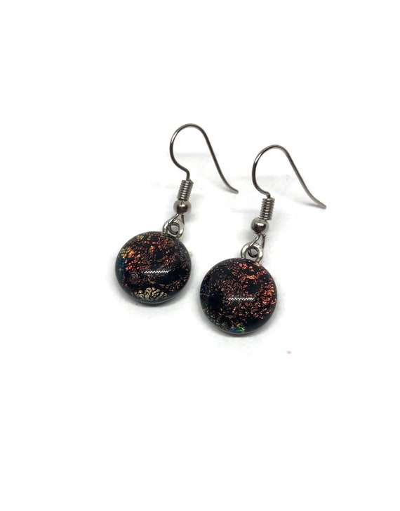 glass earrings, Unique earrings, birthday gifts for her, statement jewelry, fused glass earrings, unique gift, dichroic glass earrings, gift