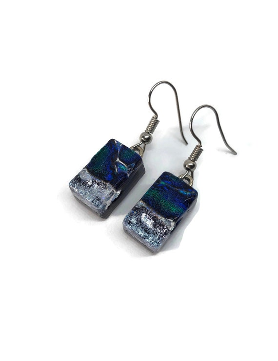 dichroic Glass earrings, bridal jewelry, glass earring, unique jewelry, fused glass earring, glass jewelry, dichroic glass jewelry, glass