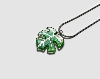 Glass Leaf necklace, Fused Glass Jewelry, plant jewelry, monstera leaf, Dichroic glass pendant, gifts for her, plant lover