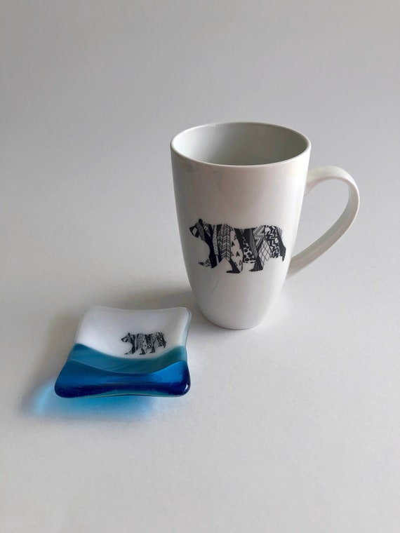 Bear mug, Glass art, unique art, tea bag dish, gifts for her, coffee cup, home decor, mountain decor, bear themed mug, unique gifts, gifts