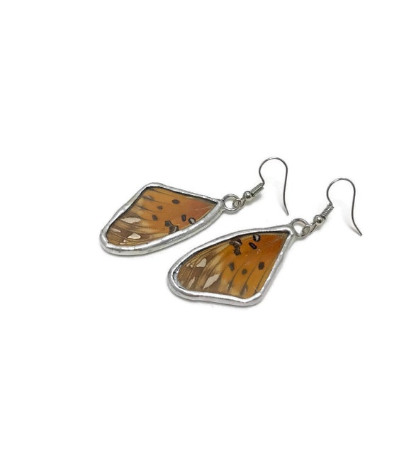 Orange and silver earrings, butterfly jewelry, unique gifts for her, jewelry for her, Stained glass jewelry