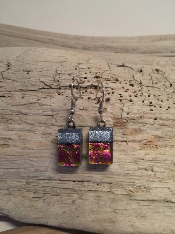 Dichroic glass jewelry, fused glass jewelry, fused glass earrings, dichroic glass earrings, glass jewelry, Dangle earrings, glass earrings