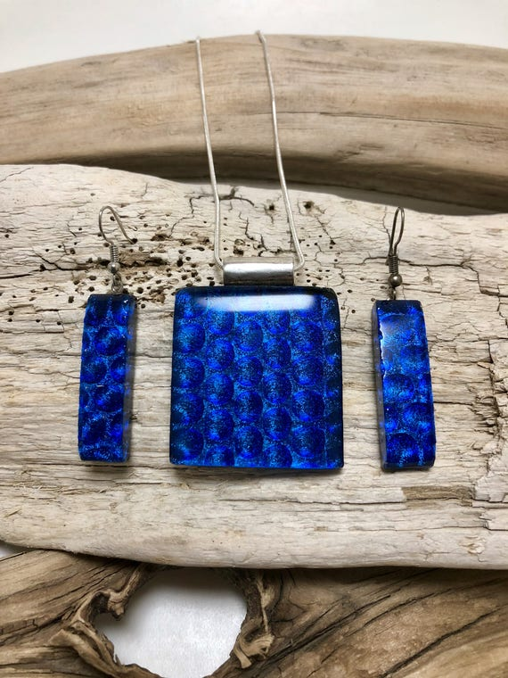 Dichroic glass set, dichroic glass jewelry, fused glass set, glass jewelry, fused glass, fused glass jewelry, pendant and earring set