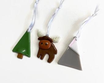 Moose ornament, fused glass ornament, unique gifts for mom, glass art, unique art, unique gifts for her, Christmas decor, tree ornament