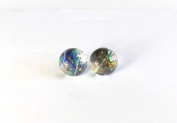 Glass studs, unique gifts for her, Unique earrings, fused glass studs, jewelry for her, dichroic glass studs, best friend gifts, gifts