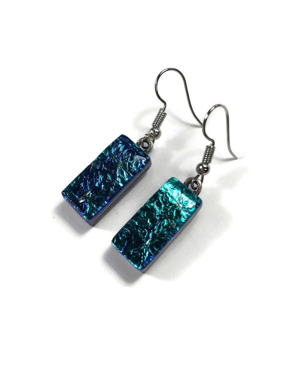 dichroic glass earrings, fused glass jewelry, dichroic glass jewelry, Glass earrings, glass Jewelry, Glass, Fused Glass earrings