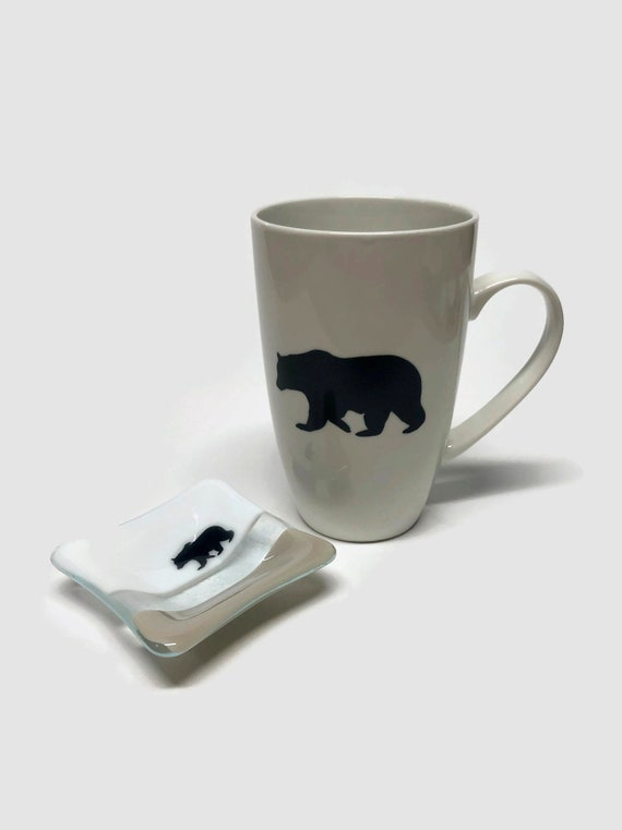 Bear Coffee mug, unique gifts for her, tea bag dish, fused glass art, gifts for her, coffee cup, mountain decor, bear themed mug, unique art
