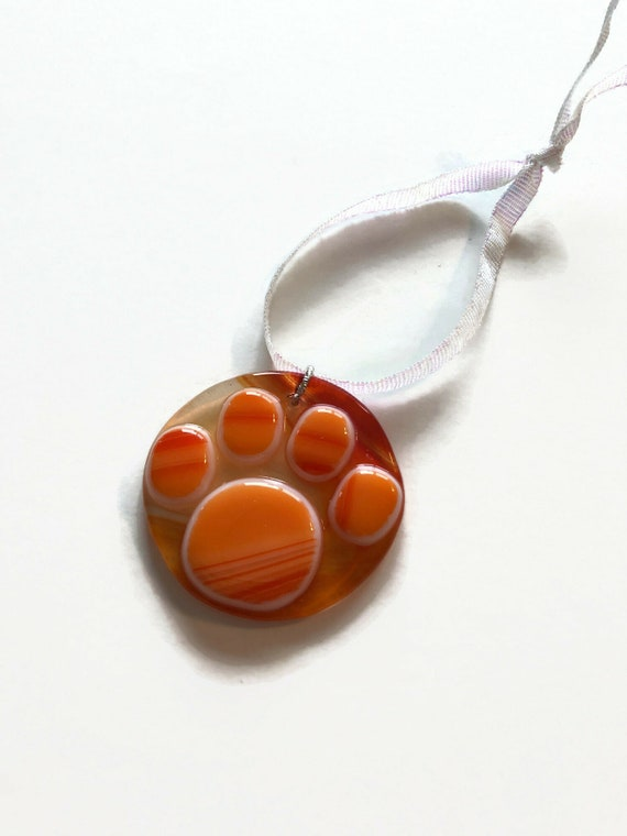 glass sculpture Fused Glass animal print suncatcher ornament paw print home decor Unique gifts for her