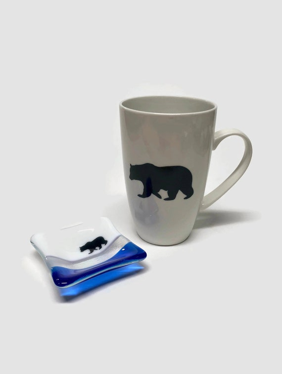 Coffee mug, unique gifts, tea bag dish, fused glass art, gifts for her, coffee cup, home decor, mountain decor, bear themed mug, unique art