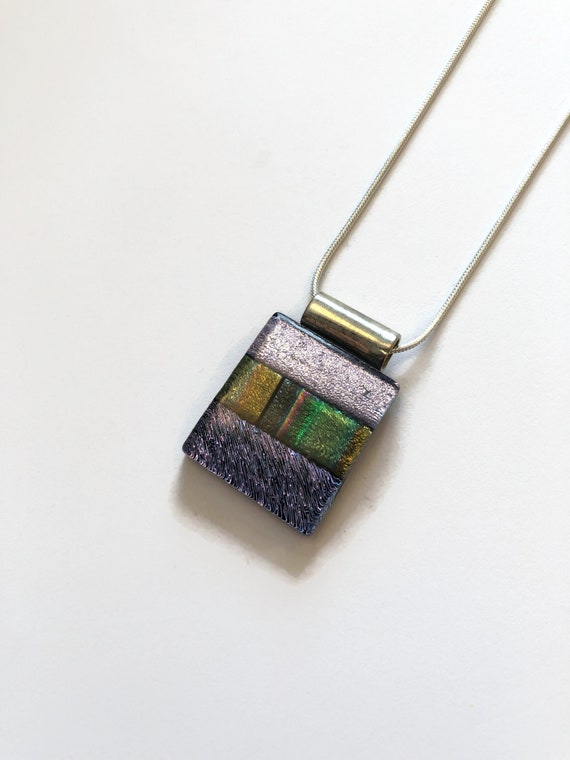Dichroic glass rainbow necklace, fused glass jewelry, unique gifts for mom