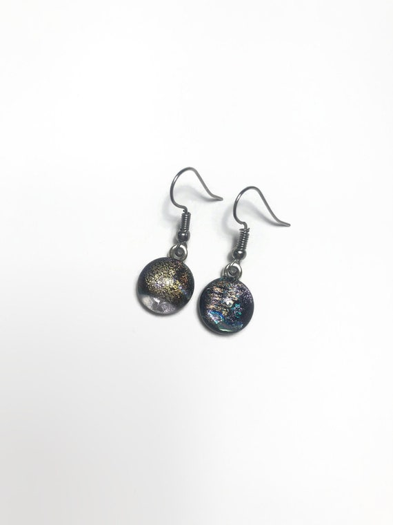 Fused glass dangle earrings, jewelry for her, statement jewelry, dichroic glass earrings