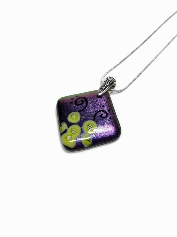 glass jewelry, gifts for mom, fused glass necklace, Unique jewelry, statement jewelry, Dichroic Glass Pendant, glass necklace, unique gifts