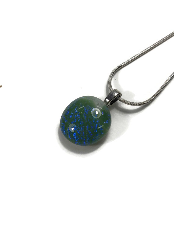 Glass necklace, Unique gifts, Dichroic glass pendant, gifts for her, glass pendant, minimalist jewelry, fused glass jewelry, bridal jewelry
