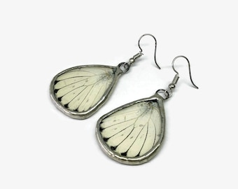 Butterfly jewelry, White dangle earrings, unique gifts for her, Bridal jewelry, butterfly taxidermy jewelry, stained glass earrings