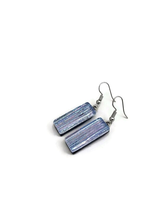 Silver dangle earrings, dichroic Glass earrings, bridal jewelry, gifts for her, fused glass jewelry