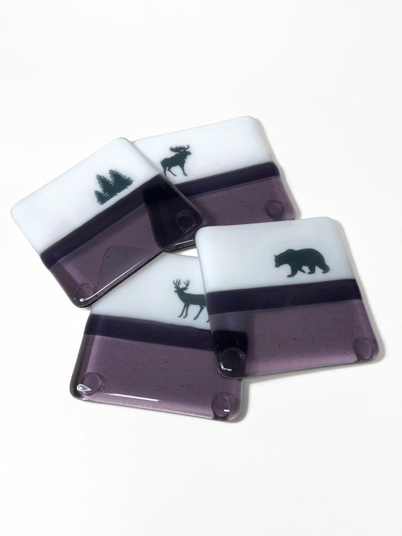 Fused Glass Art, wildlife drink coasters, unique gifts for her, bear home decor, Best friend gifts, bear lover
