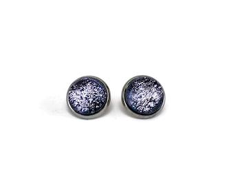 Glass earrings, silver studs, Fused Glass jewelry, minimalist studs, dichroic glass studs, button earrings, bohemian earrings