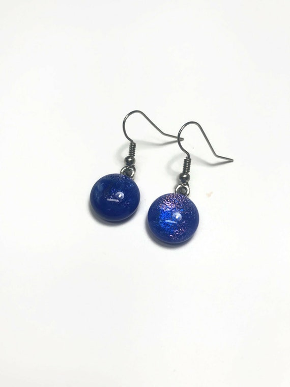 Handcrafted Dichroic glass earrings, jewelry for her, statement jewelry, fused glass earrings