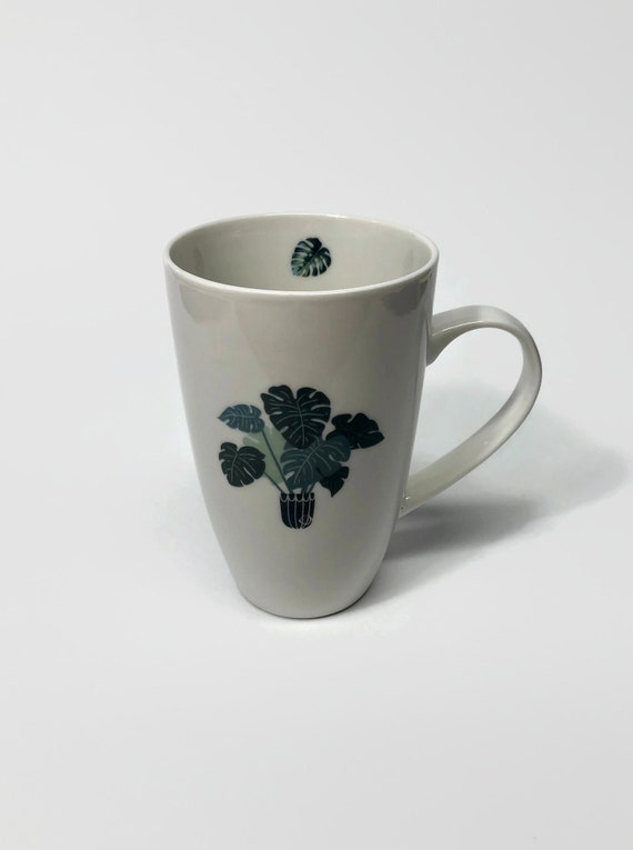 Plant mug, unique gifts, gifts for her, plant coffee cup, plant lover, monstera, unique art, plant decor, plant themed mug, coffee lover