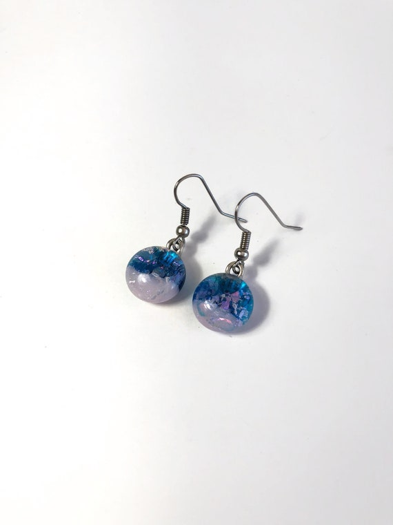 Glass earrings, jewelry for her, fused glass jewelry, unique Gifts for her, dichroic glass jewelry, unique gifts, minimalist earrings, gifts