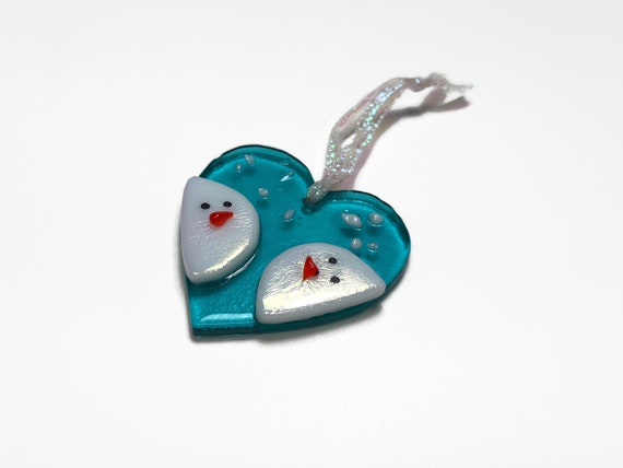 Snowman heart ornament, fused glass art, Unique gifts for her, snowman home decor, Christmas decor, handcrafted ornament