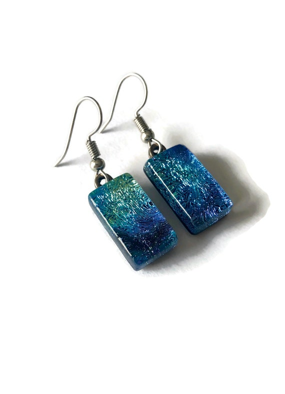 Glass earrings, unique jewelry, dichroic glass earrings, Unique birthday gifts, statement jewelry,  Gifts for mom, fused glass jewelry, gift