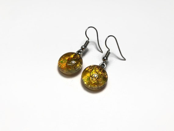 Fused glass amber earring, gifts for her, dichroic glass jewelry, glass jewelry, sparkle earrings, statement jewelry