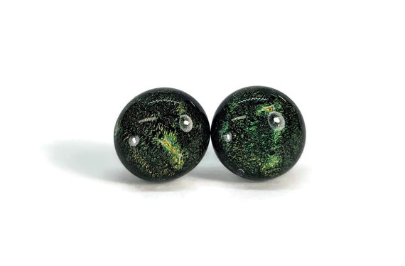 Dichroic glass studs, minimalist earrings, fused glass jewelry, Modern jewelry, glass earrings, Unique gifts for her, statement jewelry