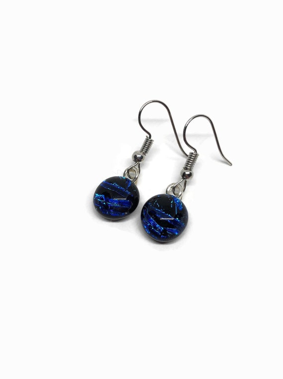 Fused Glass jewelry, unique gifts, jewelry for her, unique gifts for mom, fused glass earrings, glass earrings, dichroic glass earrings