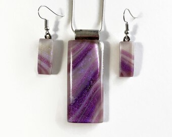 glass jewelry pendant and earrings set, unique gifts for her, Dichroic glass jewelry