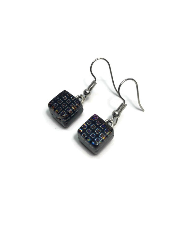 Glass jewelry, gifts for mom, dichroic glass earrings, fused glass earrings, glass earrings, dichroic glass earrings, statement jewelry