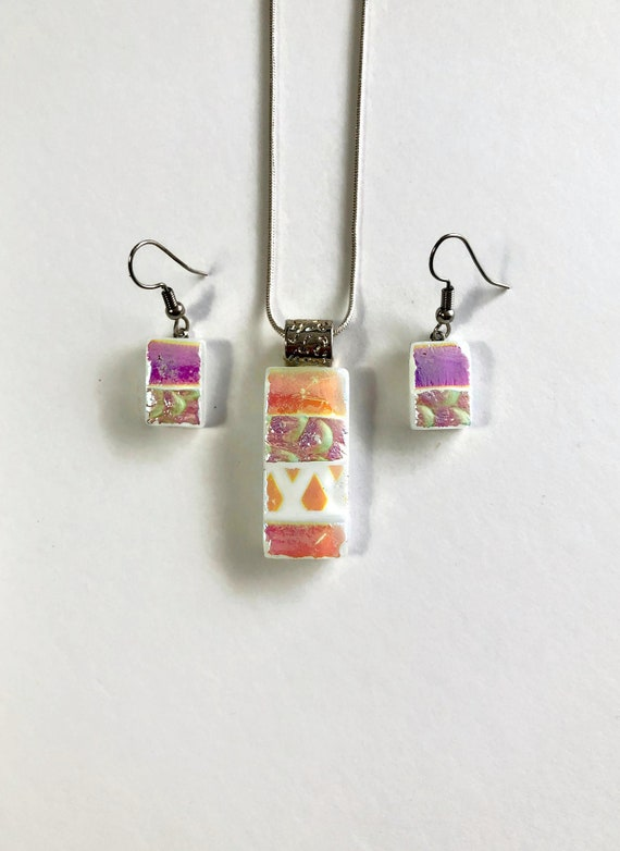 Fused Glass jewelry, statement jewelry, jewelry for her, Bridesmaid gifts, Dichroic glass jewelry, Gifts for her, glass jewelry set, gifts