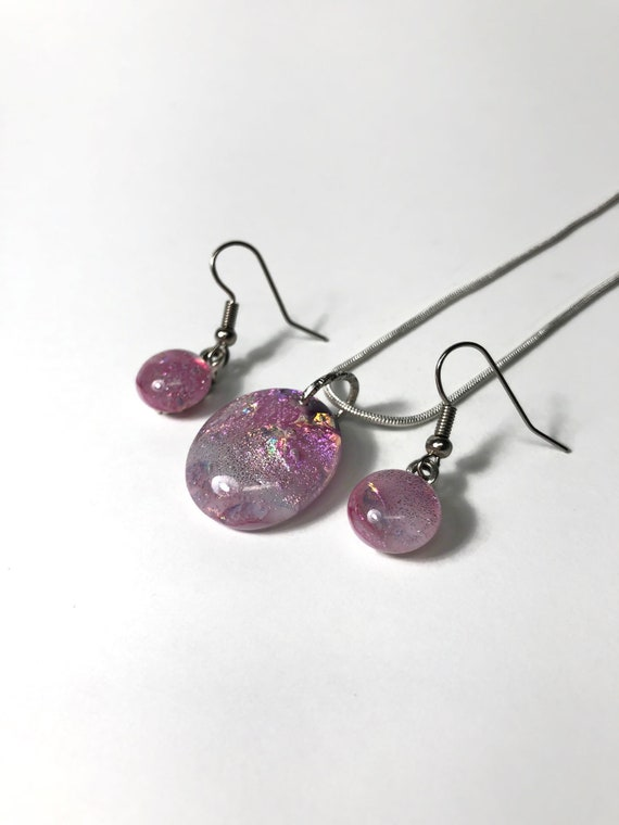 glass jewelry, Unique gifts for her, jewelry for her, fused glass earrings, Statement jewelry, dichroic glass pendant, gifts for mom, gifts