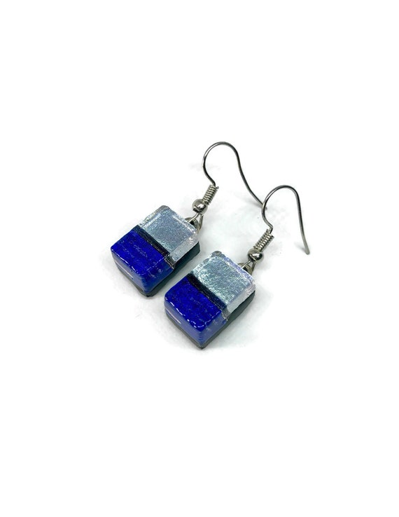 Dichroic glass earrings, Unique gifts for her, glass earrings, Unique gifts for mom, fused glass earrings, Statement jewelry, bridal gifts