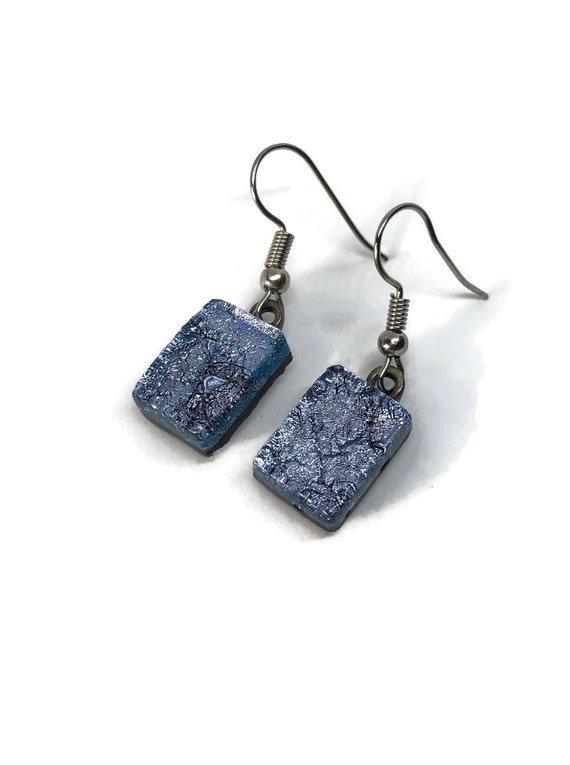 Glass jewelry, unique gifts, dichroic glass earrings, fused glass earrings, glass earrings, dichroic glass earrings, dangle earrings, glass