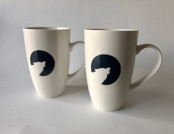 Coffee cup, unique gifts, Wolf mug, wilderness gifts, coffee mug,  wolf home decor, painted, cup, ceramic mug, wolf themed mug, unique art