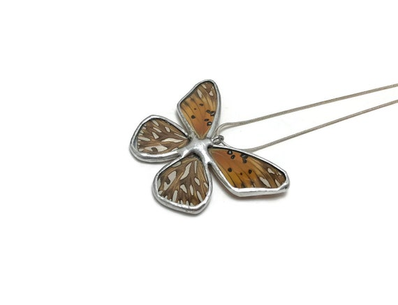 Handcrafted real Butterfly wing Jewelry, best friend gifts, insect pendant, Stained glass necklace