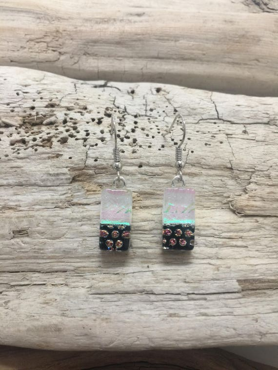 Dichroic Glass earrings, glass earrings, dichroic glass jewelry, fused glass earrings, fused glass jewelry, glass earrings, dangle earrings