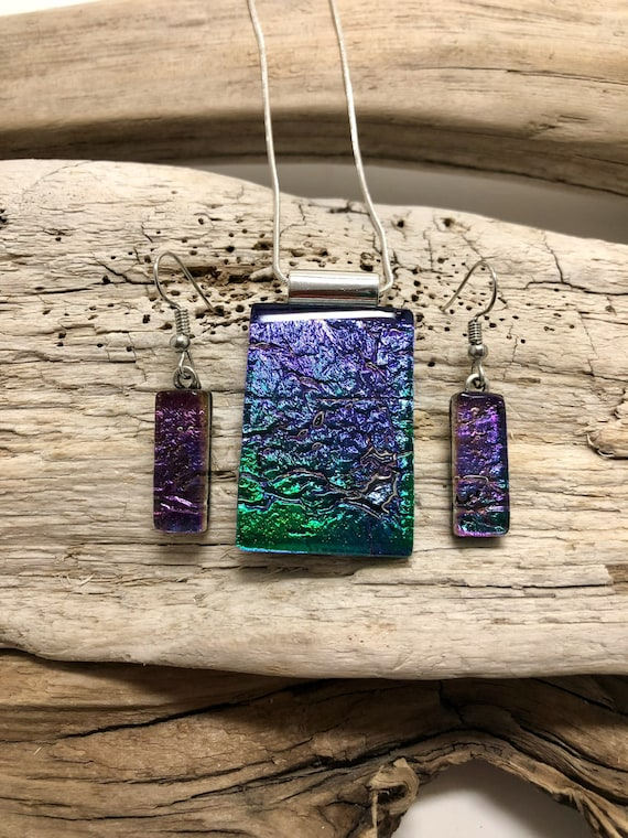 Dichroic glass jewelry, dichroic glass pendant, Dichroic glass necklace, dichroic glass earrings, fused glass jewelry, fused glass pendant