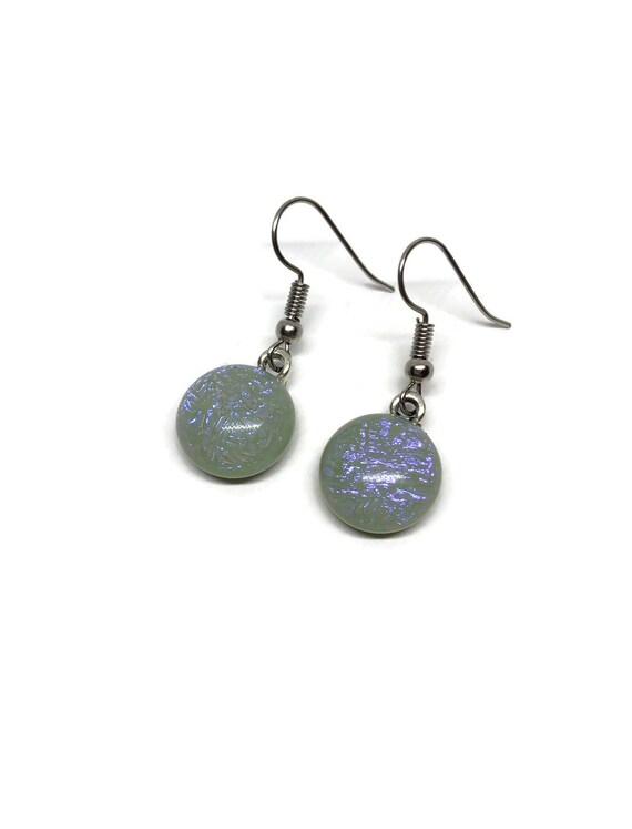 Fused glass earrings, Unique jewelry, birthday gifts for her, statement jewelry, glass earrings, unique gift, dichroic glass earrings, gifts