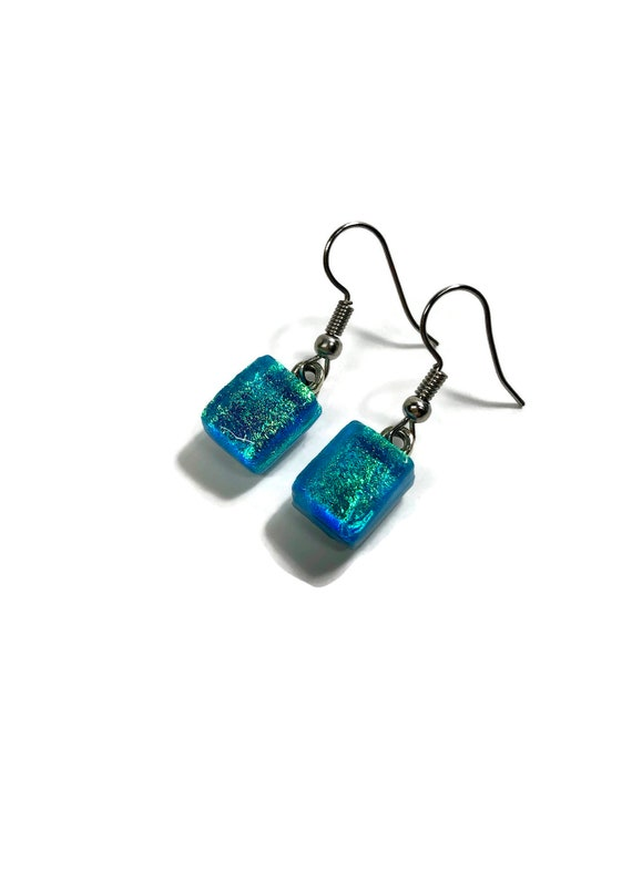 Glass jewelry, gifts for her, glass earrings, gifts for mom, fused glass earrings, Unique jewelry, glass earrings, dichroic glass earrings