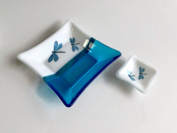 glass plate, unique home decor, gifts for her, dragonfly dish, unique art, fused glass plate, glass sculpture, glass home decor, unique gift