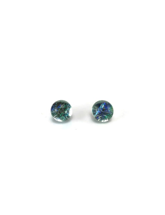 Dichroic Glass earrings, unique gifts, fused glass earrings, Minimalist jewelry, dichroic glass jewelry, glass studs, Glass earrings, glass