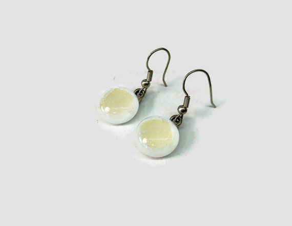 White fused Glass earrings, unique jewelry for her, dichroic glass earrings, Best friend gifts, glass jewelry, unique gifts for her, gift