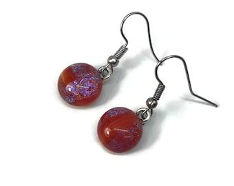 Red dangle earrings, Fused glass earrings, dichroic glass jewelry, minimalist jewelry, glass Jewelry, sparkle earrings, hypoallergenic