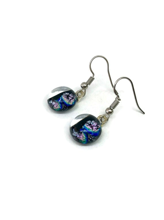 Fused Glass jewelry, glass earring, Statement jewelry, fused glass earrings, glass jewelry, dichroic glass earrings, unique gifts for her