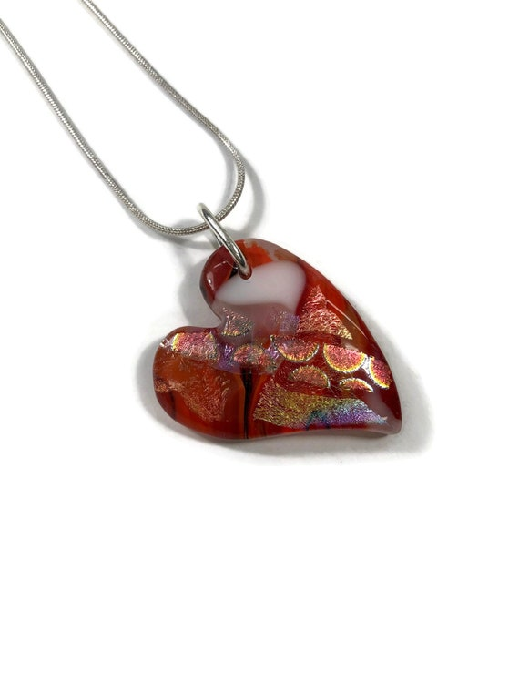 Gifts for mom, Heart necklace, Dichroic Glass Pendant, Fused Glass Jewelry, Dichroic glass Necklace, glass necklace, Glass jewelry, gifts