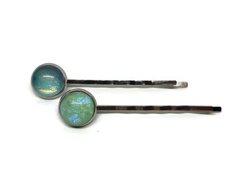 Glass hair jewelry, Green bobby pins, dichroic glass jewelry, fused glass bobby pins, wedding hair jewelry, sparkle hair barrettes