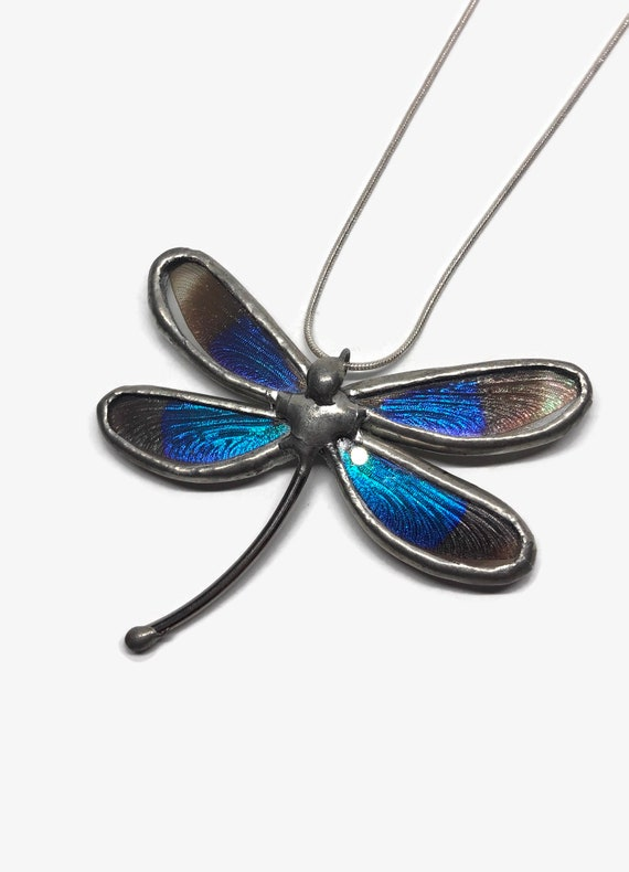 Dragonfly pendant, unique gifts for her, insect wing taxidermy, insect jewelry